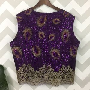 Vintage 80's sequin peacock feather print top